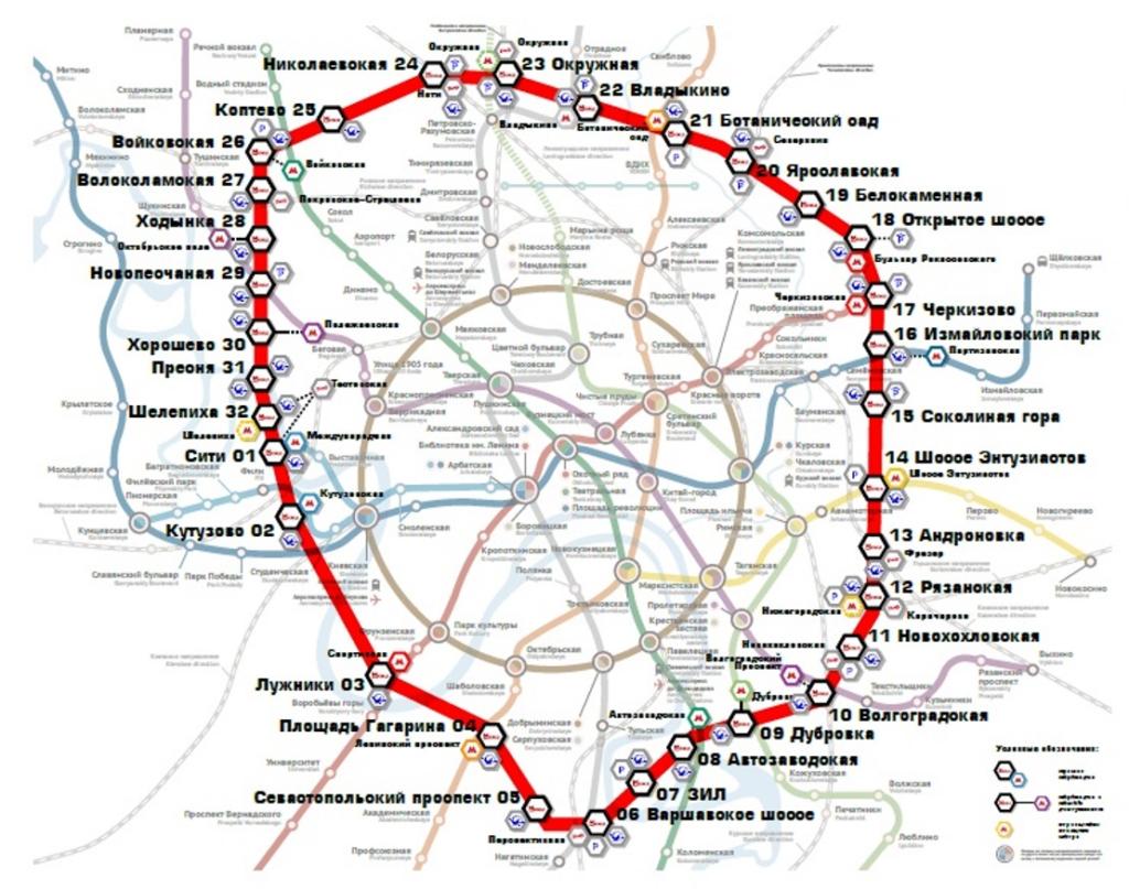 Карта московского центрального кольца